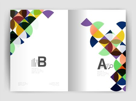 page layout: Abstract circle design business annual report print template. Business brochure or flyer abstract background Illustration