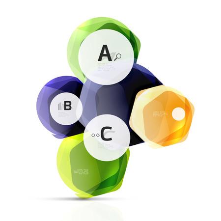 Glanzende zeshoeken met infographics opties geïsoleerd op wit. Abstracte geometrische banner