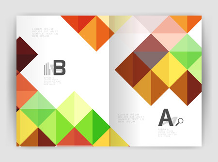 pixelated: Square annual report brochure a4 print template with sample option text infographics