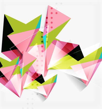3d triangles and pyramids, abstract geometric vector background.