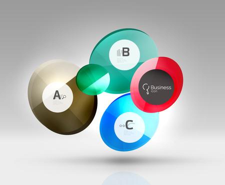 Glas cirkels banner in 3D-ruimte
