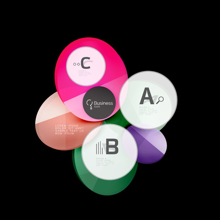 colourful lightings: Glass circles on black, vector abstract background