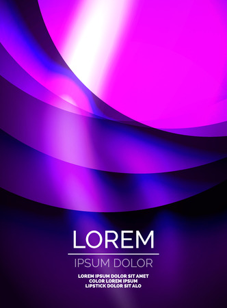 Shiny purple silk wave template, color satin with effects, vector abstract background