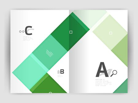 A Vector modern geometrical a4 flyer brochure template, annual report print template with infographics abc options