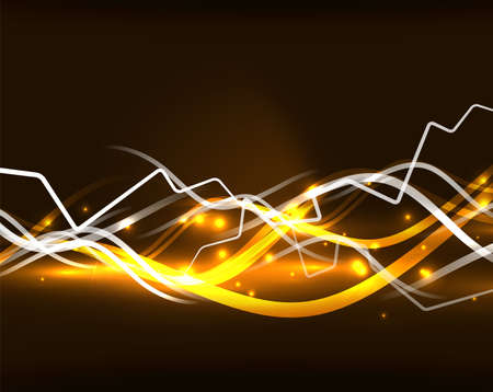 Glowing wavy lines template Illustration
