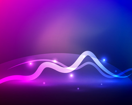 Glowing magic wave line with light effects in darkness. Vector illustration