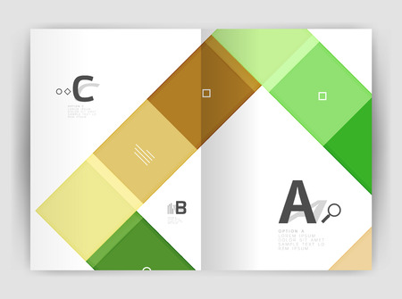 size: Set of front and back a4 size pages, business annual report design templates