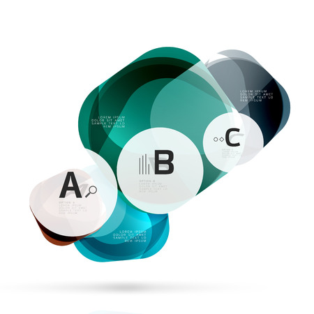reflection in mirror: Glass glossy abstract stones with text. Abstract template Illustration
