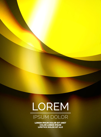 gold textured background: Shiny silk wave template, color satin with effects, vector abstract background Illustration
