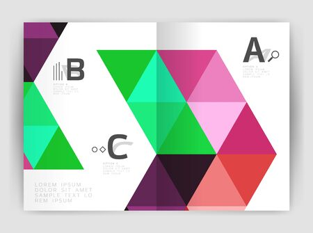 Modern business brochure or leaflet A4 cover template. Abstract background with color triangles, annual report print backdrop. Vector design for workflow layout, diagram, number options or web design Illustration