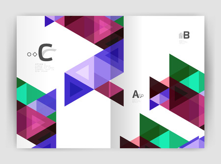 diagonal: Modern business brochure or leaflet print cover template. Abstract background with color triangles. Vector design for workflow layout, diagram, number options or web design Illustration