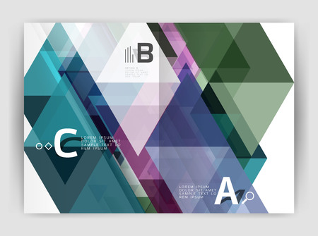 diagonal: Modern business brochure or leaflet A4 cover template. Abstract background with color triangles, annual report print backdrop. Vector design for workflow layout, diagram, number options or web design Illustration