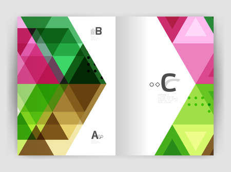 Modern business brochure or leaflet print cover template. Abstract background with color triangles. Vector design for workflow layout, diagram, number options or web design Illustration