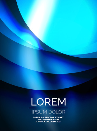 Shiny blue silk wave template, color satin with effects, vector abstract background Illustration