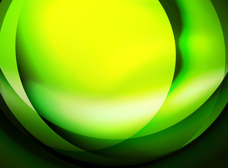 Shiny green silk wave template, color satin with effects, vector abstract background Illustration