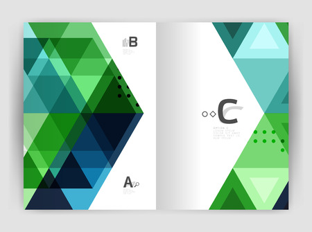 diagonal: Vector triangle print template. Modern business brochure or leaflet print A4 cover template. Abstract background with color triangles. Vector design for workflow layout, diagram, number options or web design Illustration
