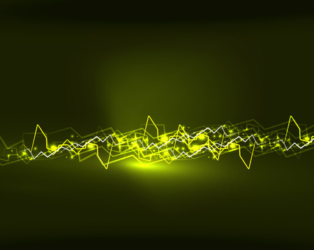 high voltage: Neon yellow lightning vector background template