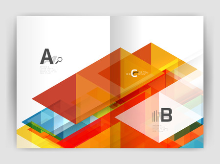 Vector modern geometric annual report cover. Modern business brochure or leaflet A4 cover template. Abstract background with color triangles, annual report print backdrop. Vector design for workflow layout, diagram, number options or web design