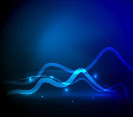 shiny background: Glowing magic wave line with light effects in darkness. Vector illustration