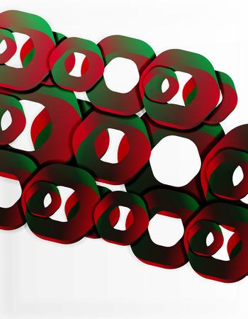 幾何学的な抽象的な背景、白チェーン形または六角形をカットします。