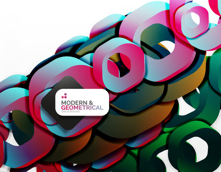 light chains: Geometric abstract background, cut chain shapes or hexagons on white Illustration