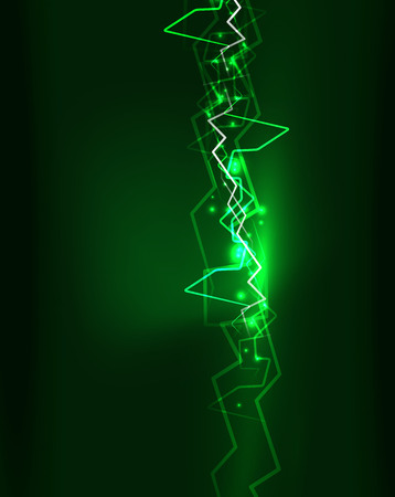 Neon green lightning vector background template