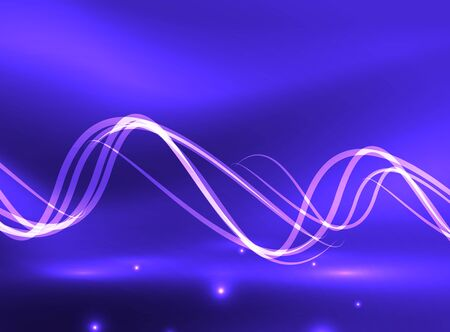 blue flame: Glowing shiny wave background, vector energy concept illustration
