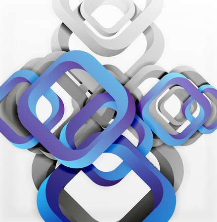glossiness: Square vector background, 3d style overlapping geometric shapes with shadows on light backdrop