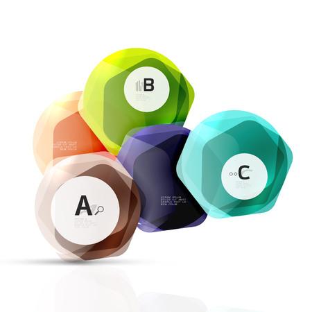 Shiny style modern geometrical hexagons web boxes Stock Photo