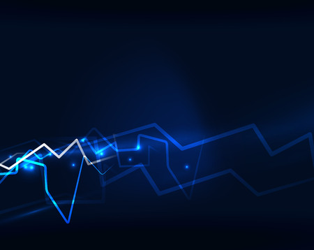 Neon blue lightning vector background template
