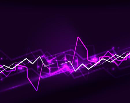 Neon purple lightning vector background template