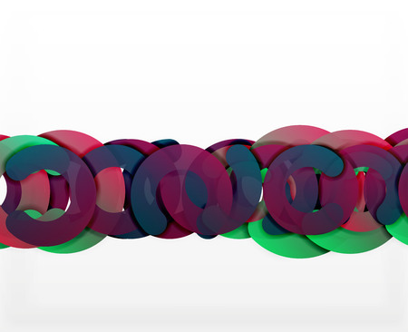 tillable: Circle geometric abstract background, colorful business or technology design for web. Paper round shapes - rings, geometric 3d style texture, banner
