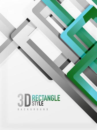 Éléments du tube rectangulaire, fond vectoriel 3d