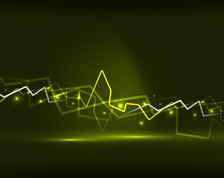 Neon yellow lightning vector background template
