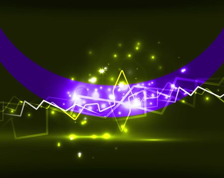 Neon lightning vector background template