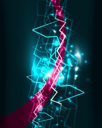 Neon lightning vector background template