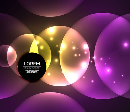 Glowing shiny overlapping circles composition on dark background Illustration