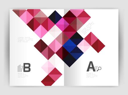 Modern minimalistic geometrical square business leaflet template design, a4 print template