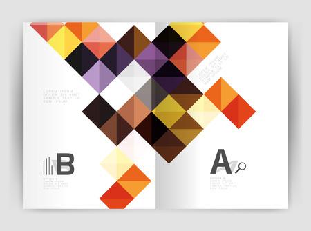 モダンなミニマルな幾何学的な正方形ビジネス チラシ テンプレート