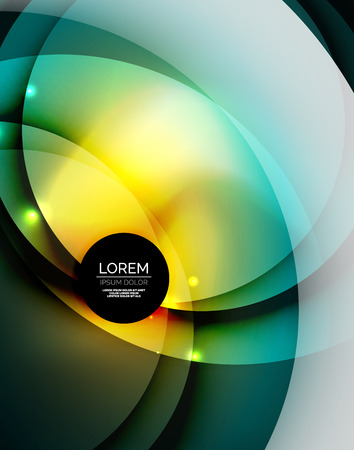 Overlapping circles on glowing abstract background with shining light effects, magic style design template Illustration