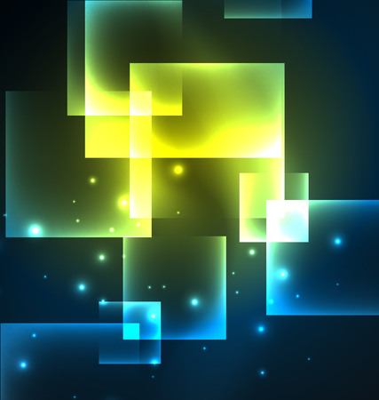 nighttime: Dark background design with squares and shiny glowing effects