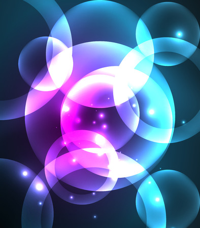 Glowing shiny overlapping circles composition on dark background, magic style light effects abstract design template
