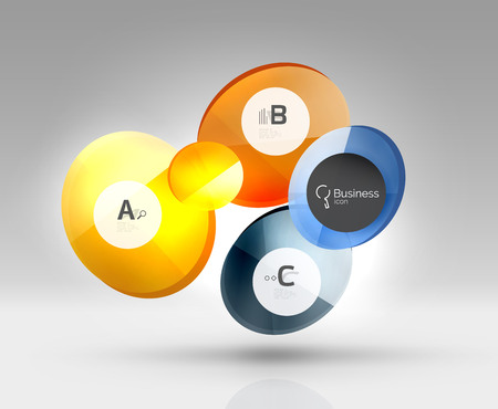 rectangle button: Glass circles banner in 3d space
