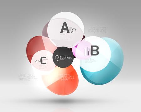 Glascirkels banner in 3D-ruimte Stock Illustratie