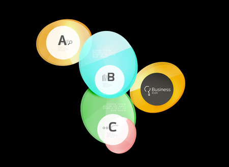 Glass circles on black, vector abstract background