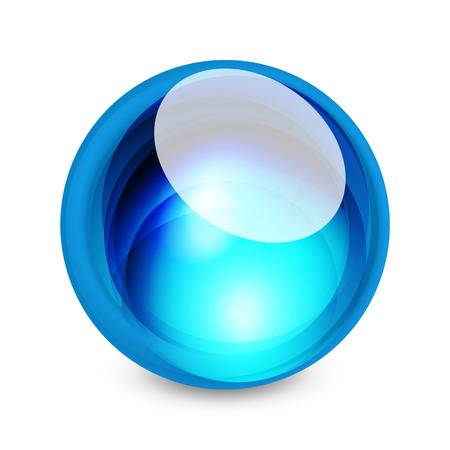 crystal button: Glass sphere, futuristic abstract element. Vector illustration for your text, photo inside or message.