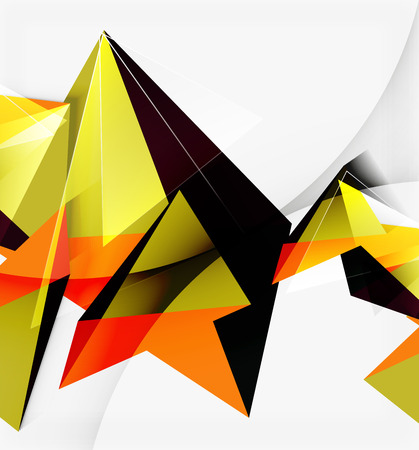 flayer: 3d triangles and pyramids, abstract geometric vector background