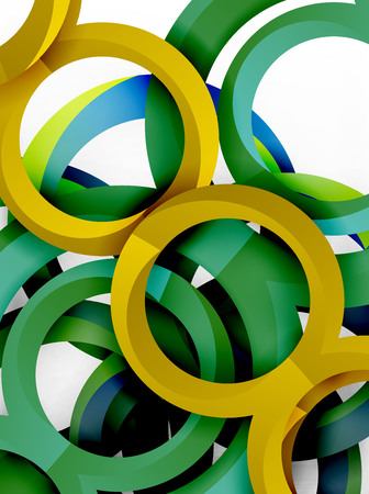 Vector 3d rings and swirls design background Illustration