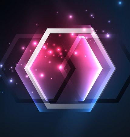 Techno glowing glass hexagons vector background Stock fotó