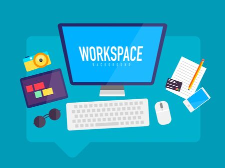 smartphone business: Flat design workspace in messaging cloud box with screen tablet phone glasses camera and other devices. Photographer or designer work desk. Communication concept